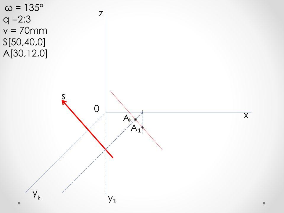 q =2:3 z v = 70mm S[50,40,0] A[30,12,0] s x A A₁ y y₁ ω = 135° + + + k
